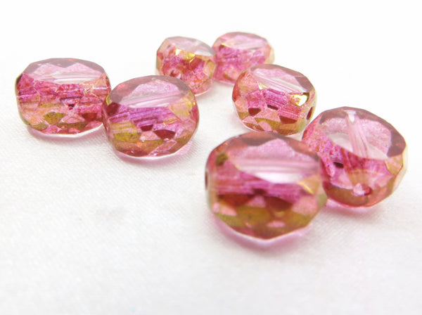 Pink and 22k Gold 12mm Czech Faceted Sliced Round Ovals (5)-Czech Glass-Odyssey Cache