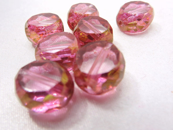 Pink and 22k Gold 12mm Czech Faceted Sliced Round Ovals (5) - Odyssey Cache
