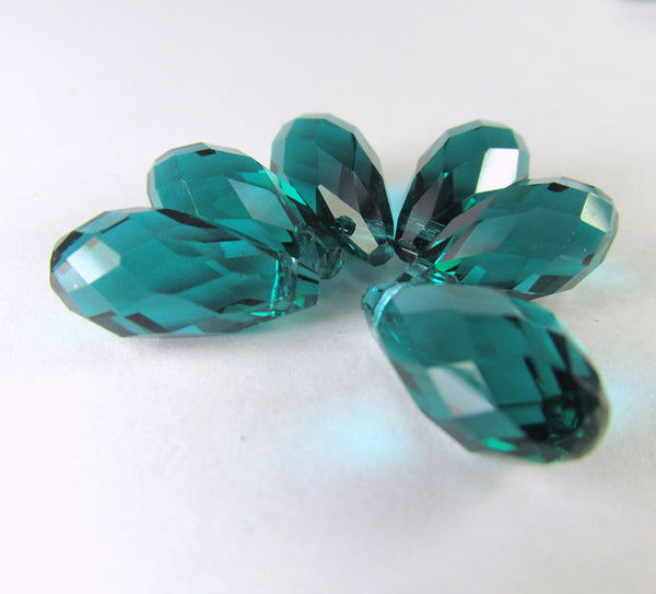 Peacock Green Teal 16mm x 8mm Faceted Crystal Briolettes (6)-Jewelry Beads-Odyssey Cache