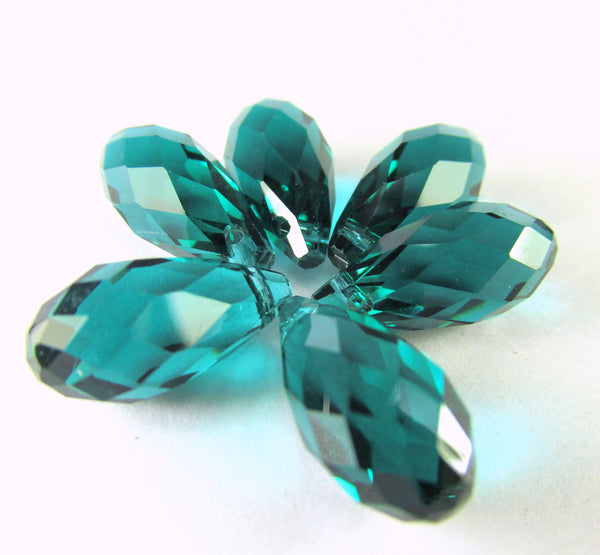 Peacock Green Teal 16mm x 8mm Faceted Crystal Briolettes (6) - Odyssey Cache