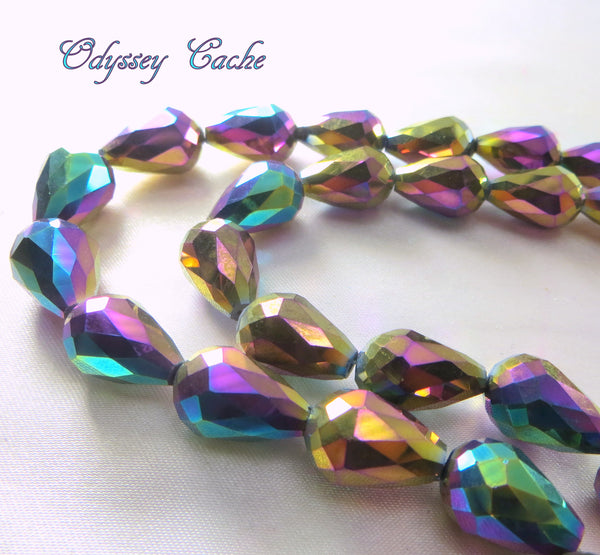 Peacock Multicolor Gold 14mm x 10mm Faceted Crystal Teardrops (6)-Jewelry Beads-Odyssey Cache