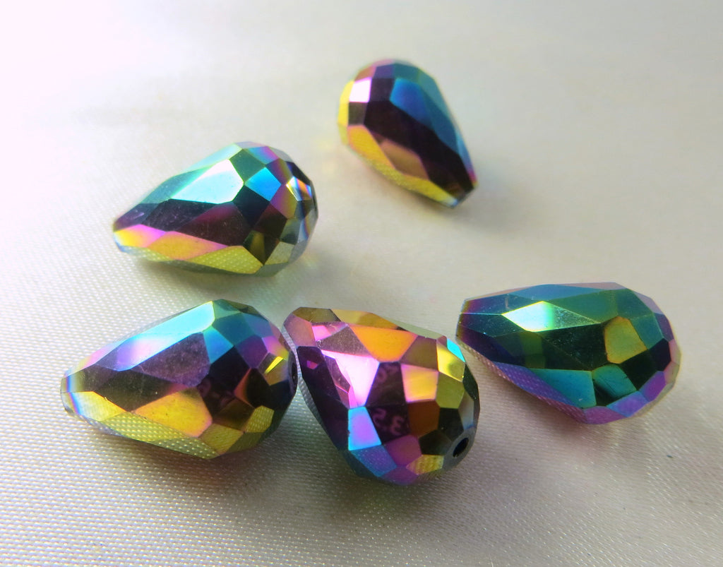 Peacock Multicolor Gold 14mm x 10mm Faceted Crystal Teardrops (6) - Odyssey Cache