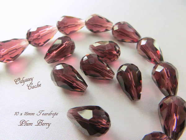 Amethyst Plum 14mm x 10mm Faceted Crystal Teardrops (6)-Jewelry Beads-Default Title-Odyssey Cache