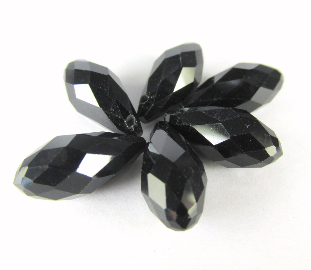 Black 16mm x 8mm Crystal Briolettes (6)-Jewelry Beads-Odyssey Cache