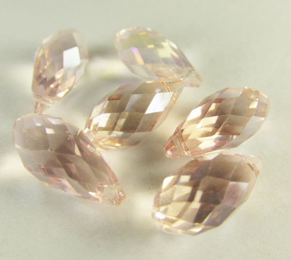 Vintage Pink AB 16mm x 8mm Crystal Briolettes (6)-Jewelry Beads-Odyssey Cache