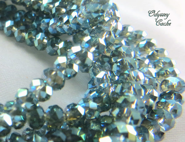 Peacock Teal Loose Chinese Crystal 4mm x 3mm Rondelles-Jewelry Beads-Odyssey Cache