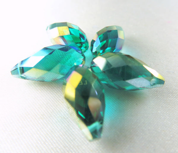 Green Teal AB 16mm x 8mm Faceted Crystal Briolettes (6)-Jewelry Beads-Odyssey Cache