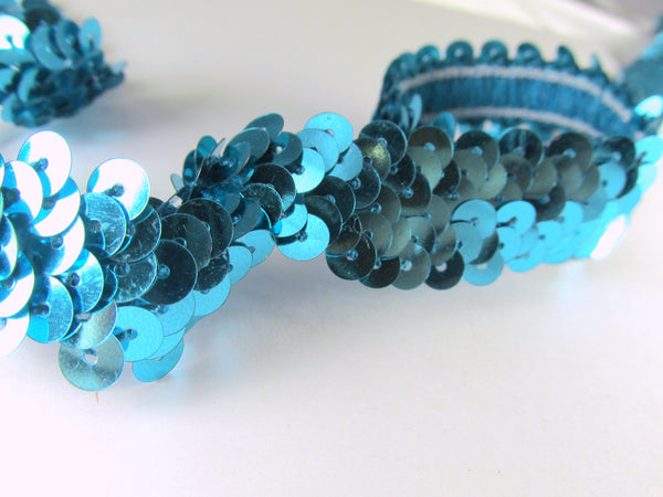 Narrow 10mm Stretch Sequined Trim in 6 colors-Trims-Turquoise-Odyssey Cache