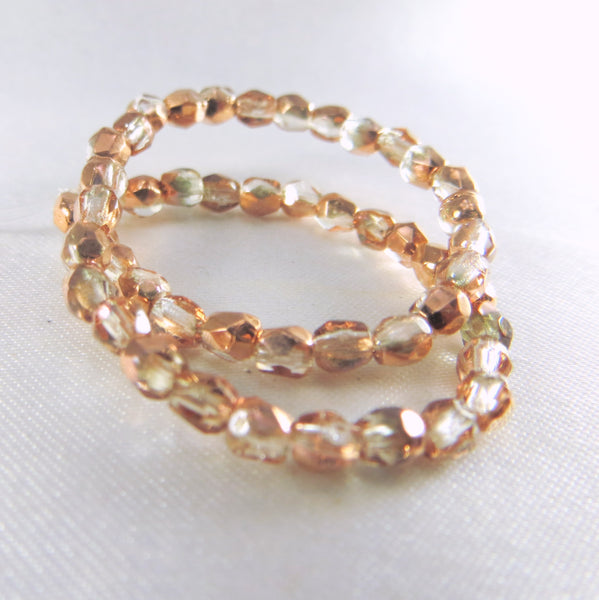 Rose Gold Light Copper and Clear Half Tone Czech 3mm Fire Polished Beads (50)-Jewelry Beads-Odyssey Cache