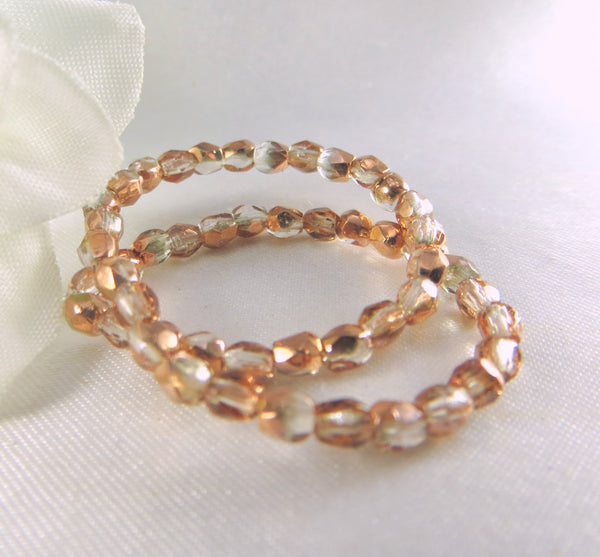 Rose Gold Light Copper and Clear Half Tone Czech 3mm Fire Polished Beads (50) - Odyssey Cache