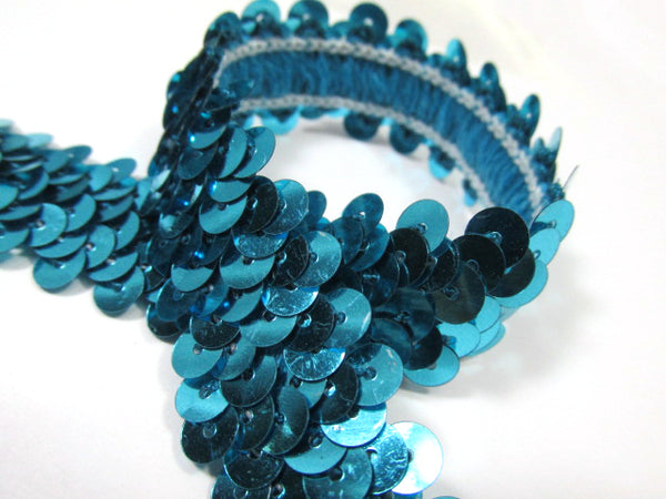 Aqua Turquoise Stretch Sequined Trim 3/4 Inch or 20mm Wide By the Yard-Trims-Odyssey Cache