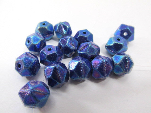 Metallic Blue Czech Glass English Cut 10mm Faceted Beads (10)-Jewelry Beads-Odyssey Cache