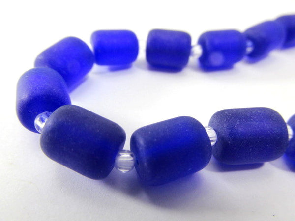 Cobalt Blue Matte 10x8mm Czech Glass Barrel Jewelry Beads (17) - Odyssey Cache