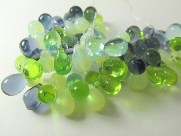 Sea Waters Aqua Mint Green Bead Mix 9mm x 6mm Czech Glass Teardrops-Jewelry Beads-Odyssey Cache