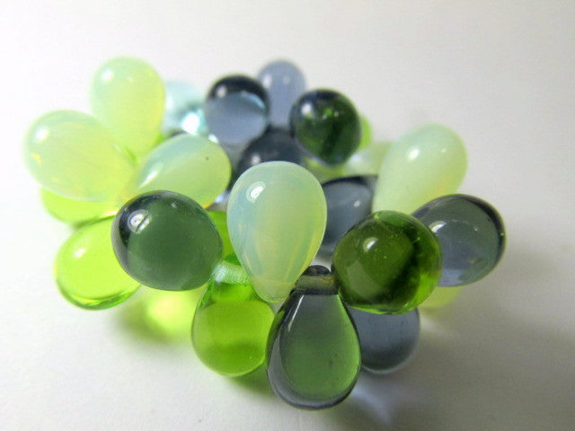 Sea Waters Aqua Mint Green Bead Mix 9mm x 6mm Czech Glass Teardrops - Odyssey Cache