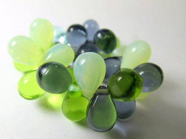 Sea Waters Aqua Mint Green Bead Mix 9mm x 6mm Czech Glass Teardrops-Jewelry Beads-Default Title-Odyssey Cache