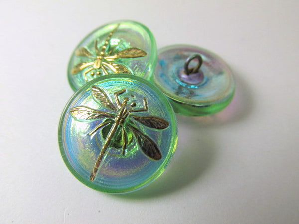 Dragonfly Czech 18mm Button in Green AB and Gold - Odyssey Cache