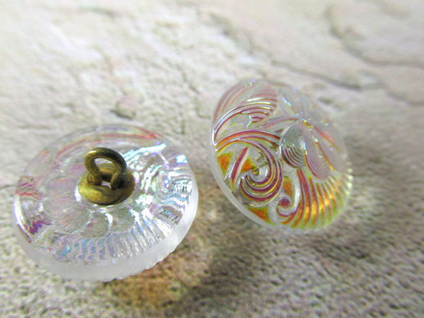 Czech Glass Clear Crystal AB Pincushion Flower 18mm Button - Odyssey Cache