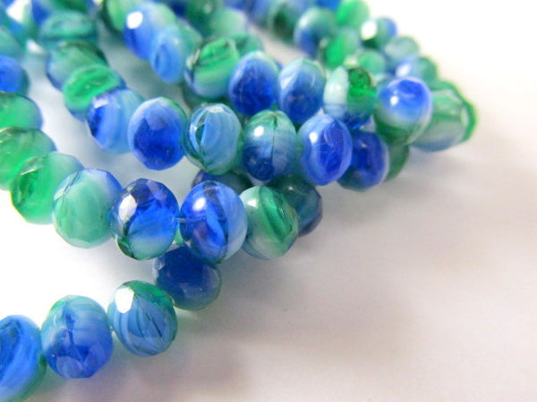 Emerald Green and Blue Czech 7mm x 5mm Faceted Rondelles-Jewelry Beads-12 beads-Odyssey Cache
