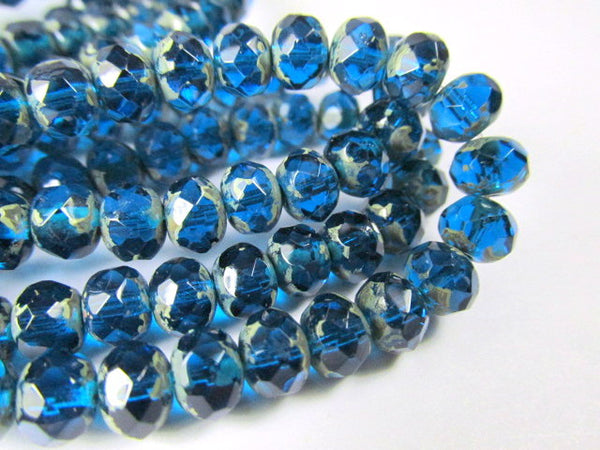 Capri Blue Picasso Czech Glass 7mm x 5mm Faceted Rondelles - 10 beads-Jewelry Beads-Odyssey Cache