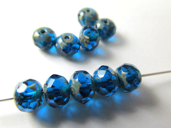 Capri Blue Picasso Czech Glass 7mm x 5mm Faceted Rondelles - 10 beads - Odyssey Cache