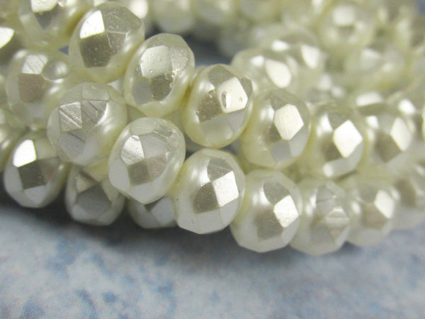 White Pearl Czech Glass 8mm x 6mm Faceted Rondelles -10 jewelry beads-Jewelry Beads-Odyssey Cache