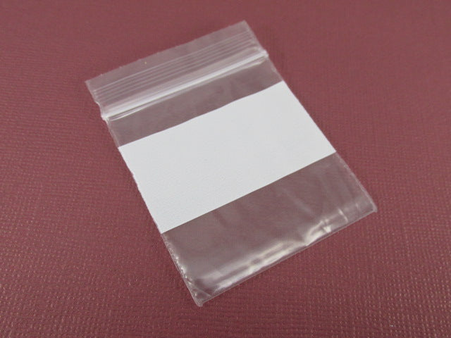 100 Tite-Lip Clear 2x2 inch Locking Bags with White Writeable Block on one side - Odyssey Cache