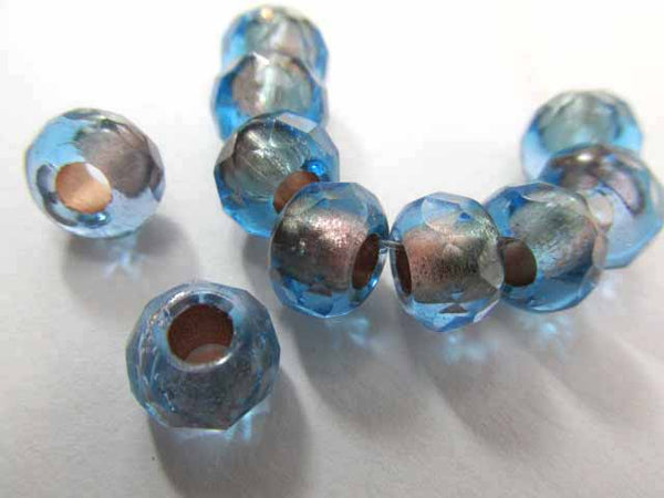 Capri Blue Copper Lined Czech Glass 3mm Large Hole 9mm x 6mm Roller Jewelry Beads (10)-Jewelry Beads-Odyssey Cache