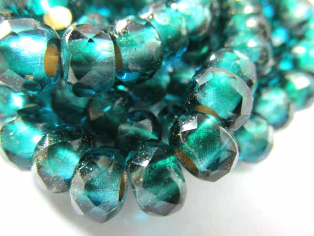 Emerald Green Teal Gold Czech Glass 3mm Large Hole 9mm x 6mm Roller Jewelry Beads (10)-Jewelry Beads-Odyssey Cache