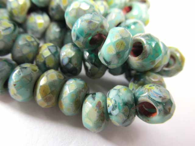 Green Turquoise Picasso Czech Glass 3mm Large Hole 9mm x 6mm Roller Beads (10) - Odyssey Cache