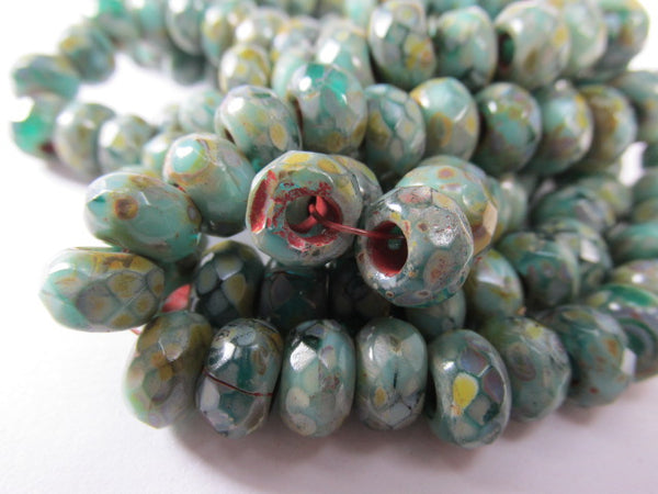 Green Turquoise Picasso Czech Glass 3mm Large Hole 9mm x 6mm Roller Beads (10)-Jewelry Beads-Odyssey Cache