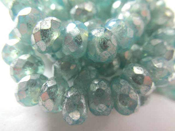 Aqua Silver Mercury Finish Picasso Czech Glass 3mm Hole 9x6mm Roller Beads (10) - Odyssey Cache