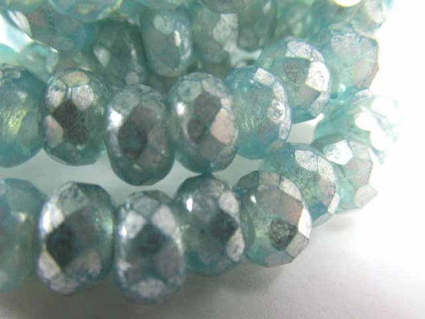 Aqua Silver Mercury Finish Picasso Czech Glass 3mm Hole 9x6mm Roller Beads (10)-Jewelry Beads-Odyssey Cache