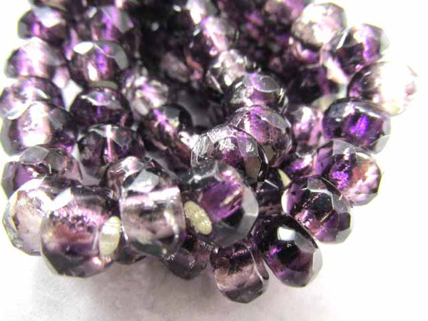 Purple Amethyst Silver Lined Czech Glass Large Hole 9x6mm Roller Beads (10) - Odyssey Cache