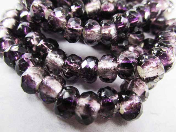 Purple Amethyst Silver Lined Czech Glass 3mm Large Hole 9x6mm Roller Beads (10) - Odyssey Cache
