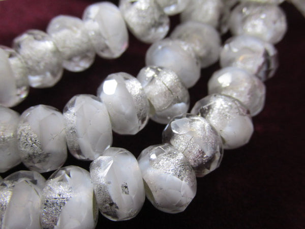 White and Clear Silver Lined Czech Glass 3mm Large Hole 9x6mm Roller Beads (10) - Odyssey Cache