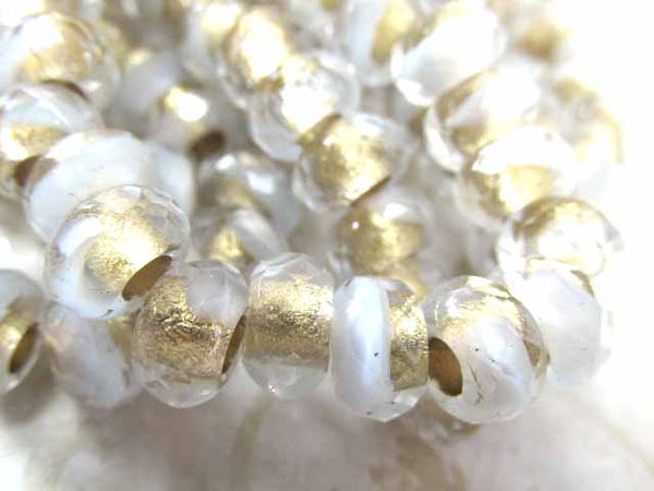 White and Clear Gold Lined Czech Glass 3mm Large Hole 9x6mm Roller Beads (10) - Odyssey Cache
