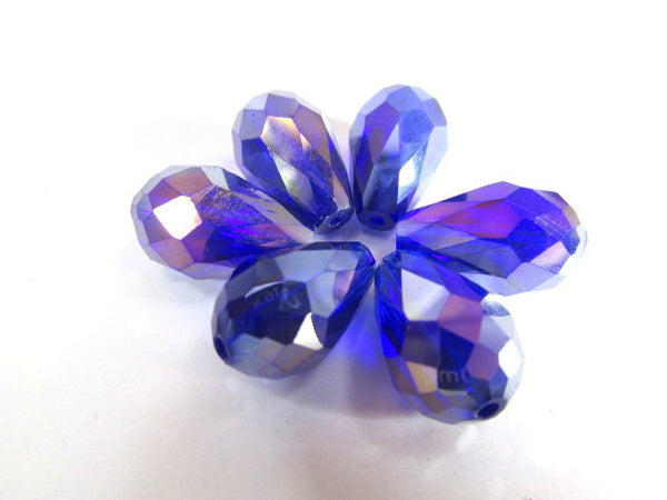 Sapphire Blue Violet AB 14mm x 10mm (6 beads) or 7mm x 5mm (10 beads) Faceted Crystal Teardrops - Odyssey Cache
