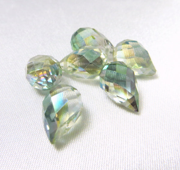 Light Green Colorized 12mm x 8mm Crystal Briolettes (5)-Jewelry Beads-Odyssey Cache