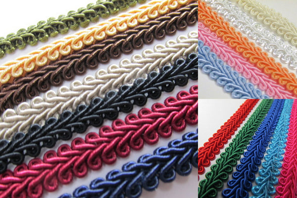 1/4 Inch or 8mm Flat Scroll Romanesque Gimp Trim in 19 colors - Odyssey Cache