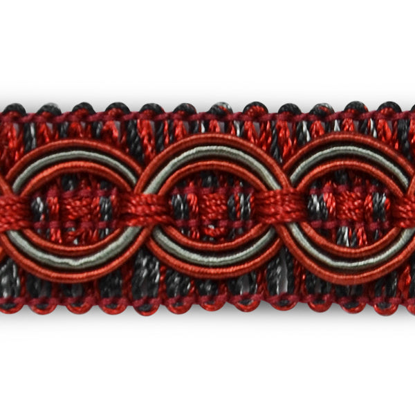Dark Red and Gray Circle Patterned 3/4 inch Fancy Braided Home Decorator Gimp Trim - Odyssey Cache