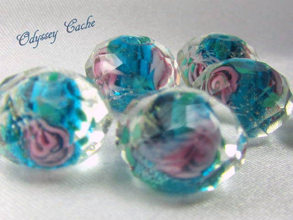 Turquoise and Pink Rose 12mm Faceted Lampwork Glass Rondelles (6)-Jewelry Beads-Odyssey Cache