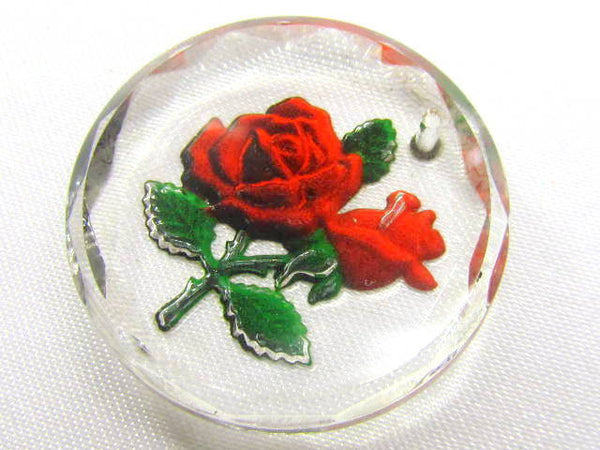Vintage Red Rose German Reverse Intalgo Glass Pendant or Charm-Jewelry Beads-Odyssey Cache