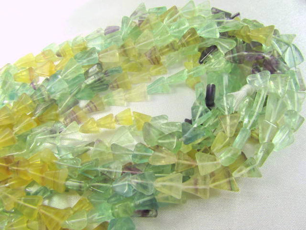 Fluorite Green, Yellow and Purple 8mm Triangular Stone Beads-Jewelry Beads-Half Strand-Odyssey Cache