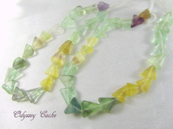 Fluorite Green, Yellow and Purple 8mm Triangular Stone Beads-Jewelry Beads-Odyssey Cache