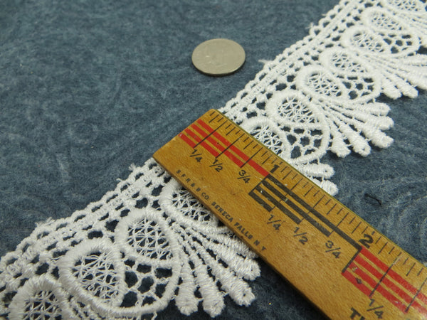 Ivory, White or Black 1.75 inch Loop De Loop Scalloped Lace Fringed Trim-Trims-Odyssey Cache