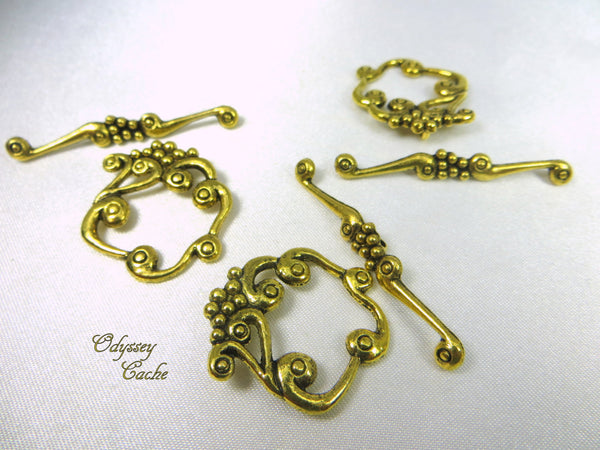 Antique Gold Pewter Square Grape Cluster Toggle Clasps (2 pair)-Jewelry Beads-Default Title-Odyssey Cache
