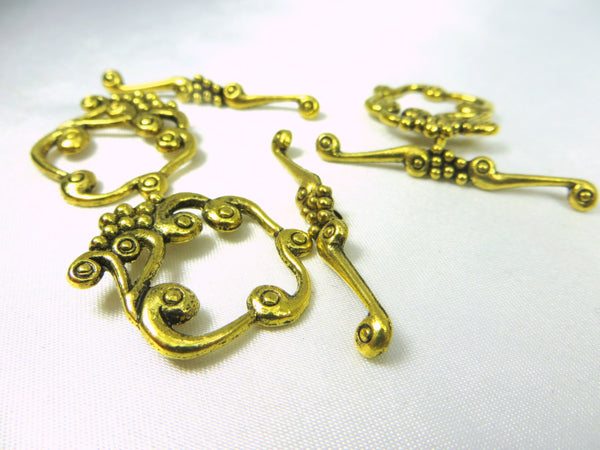 Antique Gold Pewter Square Grape Cluster Toggle Clasps (2 pair) - Odyssey Cache