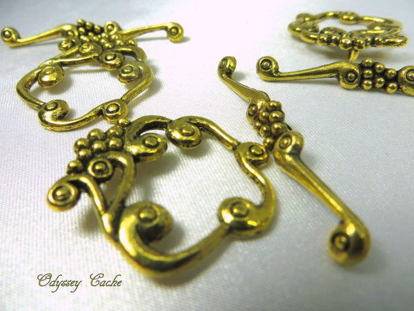 Antique Gold Pewter Square Grape Cluster Toggle Clasps (2 pair)-Jewelry Beads-Odyssey Cache