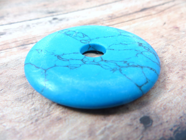 Simulated Turquoise Stone 40mm Donut Pendant-Jewelry Beads-Odyssey Cache